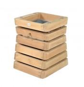 Corbeille extérieure en bois 60 L - Dimensions : 60 x 54 H 70 cm - Pin traité classe IV ou robinier