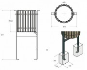 Corbeille fixation sur platines - Capacité (L) : 40 - Dimensions (H x l) mm : 917 x 472