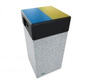Corbeille Kube tri sélectif en béton préfabriqué - Dimensions : L 500 x l 500 x H 1085 mm