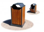 Corbeille publique avec lattes en bois - Capacité (L) : 96 - Dimensions (L x P x H) cm : 55 x 55 x 96