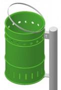 Corbeille publique tôle d'acier - Capacité (L) : 28 - Dimensions Corbeille (Diamètre x H) cm : 28 x 45