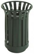 Corbeille urbaine en acier vert - Dimension (Hauteur x Diamètre) en mm : 650x450