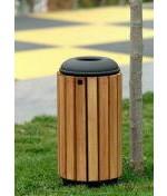 Corbeille urbaine en bois 41 ou 64 litres - 41 ou 64 litres