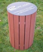 Corbeille urbaine en matériau recyclé - Capacité (L) : 100 - Diamètre (cm) : 49