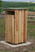 Corbeille ville bois à ouverture frontale - Coloris Bois/Gris manganèse - Ouvertures frontales - 40 ou 60 L