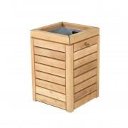 Corbeille ville en bois - Contenance : 60 L  - Dimensions (L x l x H) : 46 x 46 x 68 cm