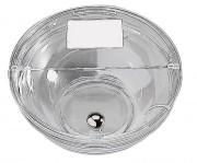 Couvercle transparent 23,5 cm pour bol en verre - Avec affichette et bouton chromé - Poids unitaire: 0,18 kg