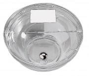 Couvercle transparent pour bol verre - Bouton chromé - Avec affichette -  Poids: 0,8 kg - Diamètre: 14,5 cm