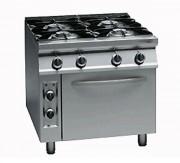 Cuisinière à gaz avec four électrique - Grilles en fonte émaillées et brûleurs en fonte.
