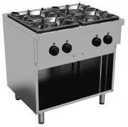 Cuisinière à gaz professionnelle - Capacité : 2 Brûleurs de 2.7 Kw + 2 Brûleurs de 3.1 Kw