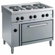 Cuisinière électrique avec four à air chaud - 6 plaques rondes - Puissance : 12 kW (6 x 2 kW)