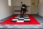 Dalles polypropylène clipsables pour garage moto - Dalles 40 x 40 cm en polypropylènes - Hyper-résistantes 25 tonnes/m². Pose simple et rapide sans colle ni outil