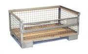 Demi-caisse palette grillagé - Dimensions utiles (axbxc) : 1200x800x420 mm. - Dimensions hors tout (axbxc) : 1240x840x570 mm.