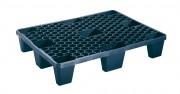 Demi-palette plastique à 9 pieds - Dimension : 800 x 600 x 140 mm - Charge statique max : 2400 Kg