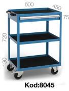 Desserte atelier 1 tiroir et 3 plateaux - Tiroir de 75 mm et poignée de poussée