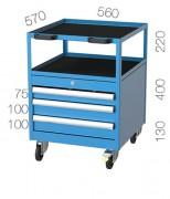 Desserte atelier 3 tiroirs et 2 plateaux - Capacité de 50 kg par tiroir