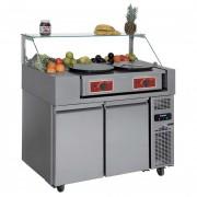 Desserte réfrigérée snacking 2 portes - Froid positif : -2° + 8° C - Capacité : 9 x GN1/3 - Dimensions (L x l x H) : 1210 x 700 x 1330 mm