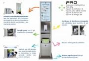 Distributeur de gel hydroalcoolique avec stérilisateur masque  - Stérilisateur UV : 20 L - Gel 1 L - Réserve matériel : 10 L