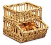 Distributeur de petits pains en osier - Dimensions (L x P x H) cm : 45 x 50/58 x 42