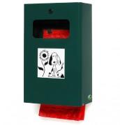 Distributeur de sac mural ou sur pied - Capacité : 7 L - Dimensions : 265 x 148 x 430 mm - Finition : Acier galvanisé