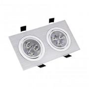 Downlight encastré rectangle aluminium - 2x3 W ou 2x5 W