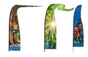 Drapeau publicitaire à impression numérique - Disponible en plusieurs graphismes et 16 couleurs - Impression numérique