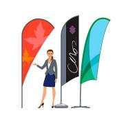 Drapeau publicitaire personnalisé - Disponible en plusieurs graphismes et 16 couleurs - Impression numérique