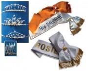 Echarpes pour miss et dauphines - En métal argenté avec peignes-en tissu polyester doublé