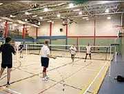 Éclairage terrain de badminton - 2 lignes de 4 projecteurs Led d'une puissance de 150W