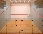 Éclairage terrain de squash - 2 lignes de 3 projecteurs de 100 W Led