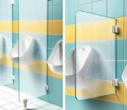 Ecran urinoir en verre trempé granité