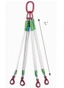 Elingue synthétique à 4 brins - CMU : 2,1 T - Longueur : de 0,5 à 4 m - Crochet Sécurité CS