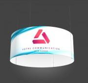 Enseigne cylindrique suspendue - Structure PVC et aluminium