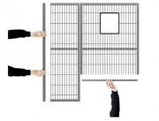 Ensemble de cloisons grillagées - Panneaux grillagés - Panneaux en polycarbonate - Panneaux tôlés  -  Poteaux
