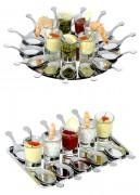 Ensemble mise en bouche 16 ou 22 pièces - Cuillères, verrines et plateau inox - 16 ou 22 pièces