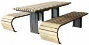 Ensemble table 2 bancs - En acier galvanisé + verni et bois de pin ou bois dur