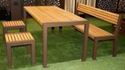 Ensemble table et bancs 180 cm - Longueur : 180 cm