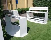 Ensemble table et bancs - En acier galvanisé+verni et bois de pin ou bois dur