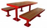 Ensemble table et deux bancs - En acier galvanisé+verni et bois de pin