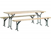 Ensemble table pliable - Dimensions table (L x l) cm : 220 x 70 - 220 x 80 - Dimensions banc (L x l) cm : 220 x 25
