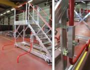 Escabeau d'accès four de cuisson industriel - Marches et plateforme caillebotis -  Structure aluminium 100 x 30 mm