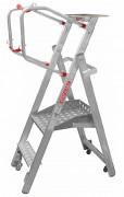 Escabeau mise en rayon sur roulettes - En aluminium - 4 roulettes à ressort - hauteur de travail 2m50