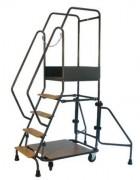 Escabeau mobile à marches en bois ou aluminium - Mécano soudé - Charge: 200 Kg - De 5 à 15 marches