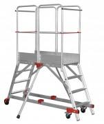 Escabeau roulant double accès - En alliage d'aluminium - Dimension (L x l) mm : 530 x 540