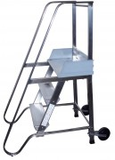 Escabeau roulant en acier inoxydable - Charge admissible : 150 kg - Escabeau sécurisé mobile