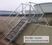 Escalier industriel double accès - Pour dépôt pétrolier - Usage en milieu sévère