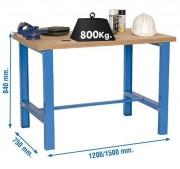 Établi acier d'atelier - Capacité : 1 Tonne -  Plateau en résine mélaminée - 3 modèles