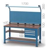 Établi atelier 3 tiroirs - Charge par tiroir : 80 kg