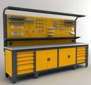 Établi complet professionnel 3100 mm - Dimensions : 2050 x 3100 x 730 mm de profondeur