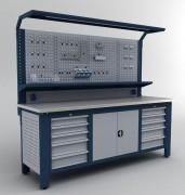 Établi d'atelier à panneau perforé - Dimensions (hxlxprof) : 2050 x 2250 x 730 mm